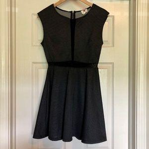 Black Polka Dot Mesh Panel Skater Dress